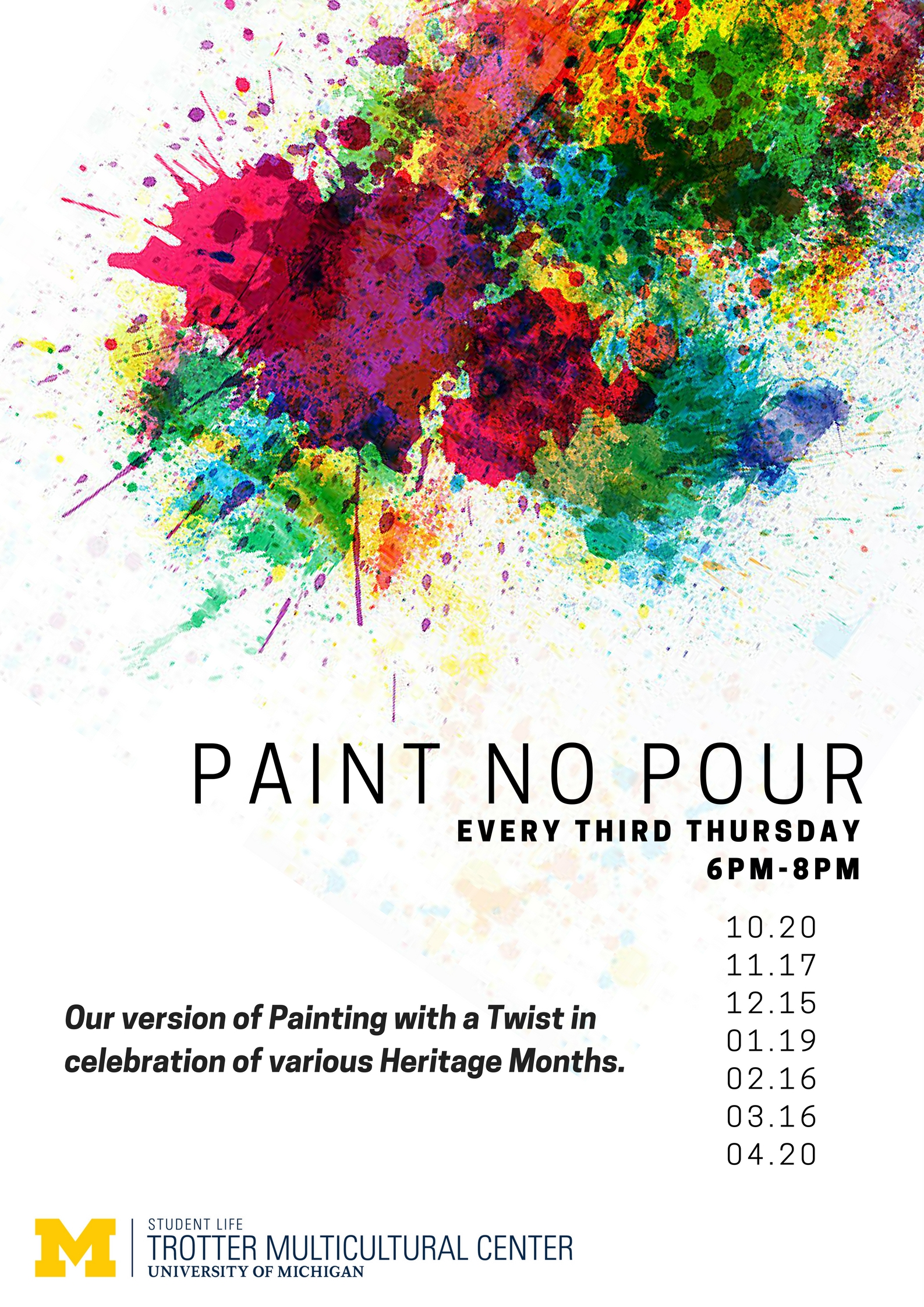 Flyer for Paint No Pour. All information in graphic contained in article.